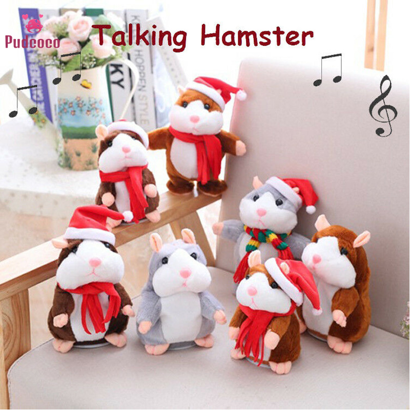 Pudcoco Brand Christmas Cheeky Hamster Talking Pet Soft Toy Cute Sound 2019 Xmas Kid Gift High Quality Hamster Villus