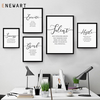 Minimalist Office Wall Art Hustle Success Talent Quote Painting Pictures Motivational Inspirational Female Office Canvas Decor image