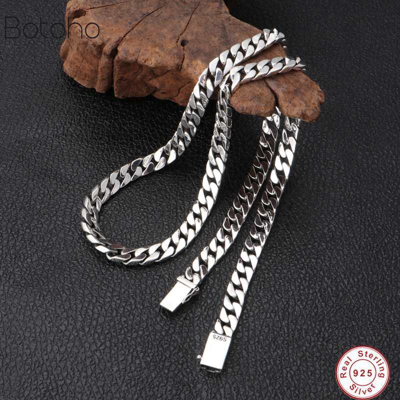 Real solid S925 sterling silver colour jewelry personality simple popular Thai silver colour retro 8mm thick models men necklace