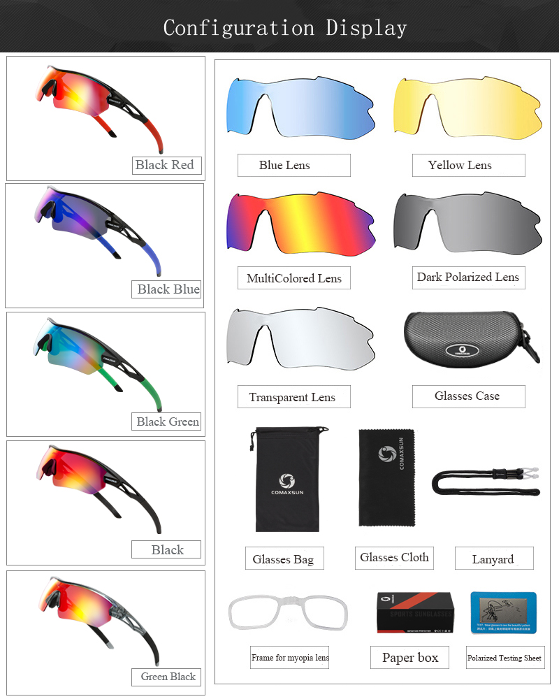 H5647a97d75124bc2a96b5b4f3e94121dV COMAXSUN Professional Polarized Cycling Glasses Bike Goggles Outdoor Sports Bicycle Sunglasses UV 400 With 5 Lens TR90 2 Style