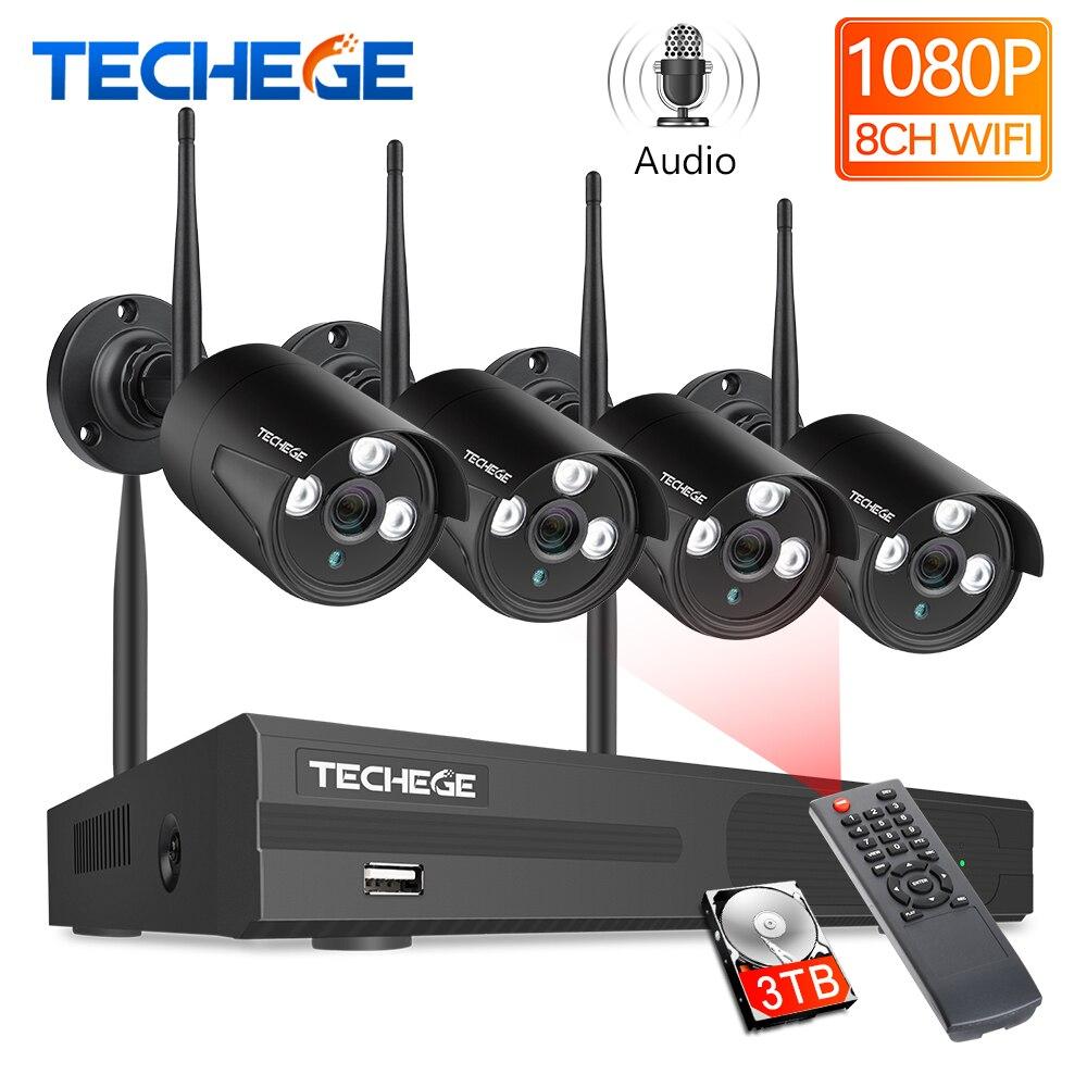 Techege 8CH Wireless CCTV System 1080P 4pcs 2MP Camera Outdoor Waterproof CCTV Camera IP Security System Video Surveillance Kit|Surveillance System| |  - title=