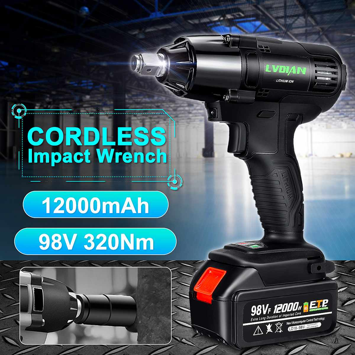 98VF 320N.M Cordless Electric Wrench Impact Socket Wrench 12000mAh Li Battery Hand Drill Screwdriver Installation Power Tools