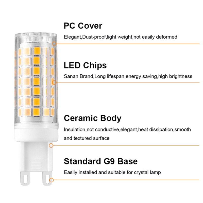 Mais novo g9 led 5 w 7 9 12 ac220v 240 v g9 led lâmpada led smd 2835 led g9 luz substituir 30 40 50 70 90 halogênio lâmpada luz