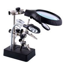 LED Magnifier Stand AC/DC MG16129-C Hand Solder Foldable MG16129-C Magnifying Lens Desktop Jewelry