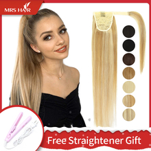Hair-Extensions Ponytail Blonde Human-Hair Clip-Ins Natural Brazilian Brown Color-14-18-22-Inch