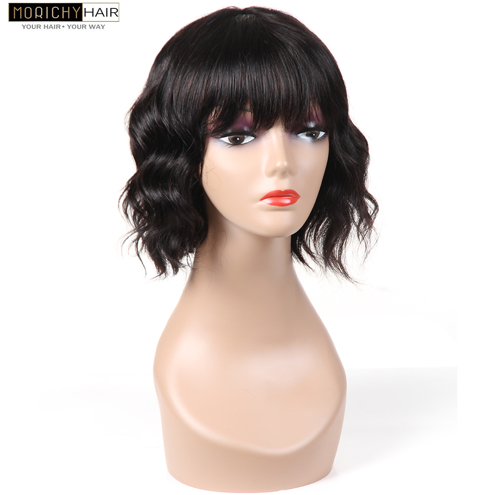 Morichy Brazilian Body Wave Short Cut Bob Wigs Wavy Wig With Bangs For Women Machine Made Non-Remy Human Hair Natural Color Wig