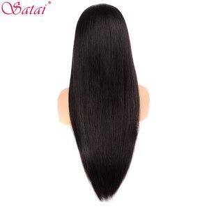 Image 5 - Satai Tutkalsız Dantel Ön İnsan Saç Peruk Kadınlar Için Önceden Koparıp Dantel ön peruk Brezilyalı Düz dantel peruk bebek saç Remy