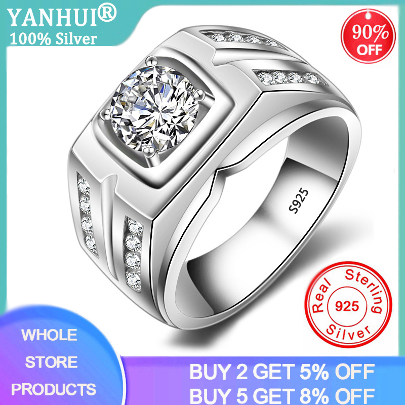 YANHUI With Certificate European Fashion Man Party Wedding Gift 1ct Cubic Zircon 925 Sterling Silver Rings For Men MJZ004