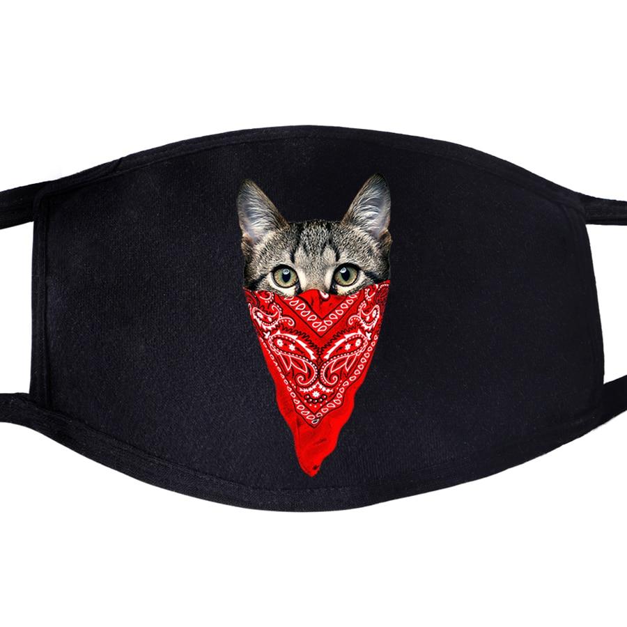 Cat Animal Cute Kawaii Mysterious Dustproof Mouth Masks Face Unisex Reusable Fabric Anti Black Pollution Reusable Washable Mask