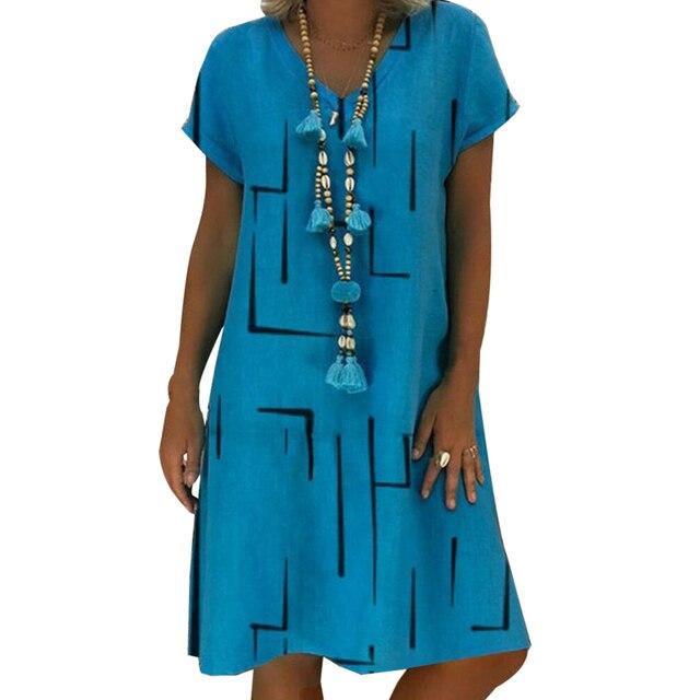 Adisputent Polka Dot Print Short Sleeve V-neck Dresses Boho Clothes Sundress Women Summer Casual Loose Dress Fashion Plus Size