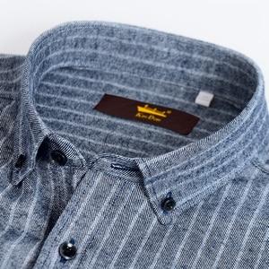 Image 3 - Chemise manches longues pour homme, chemise Standard, confortable, à rayures brossées, décontracté coton, 100%