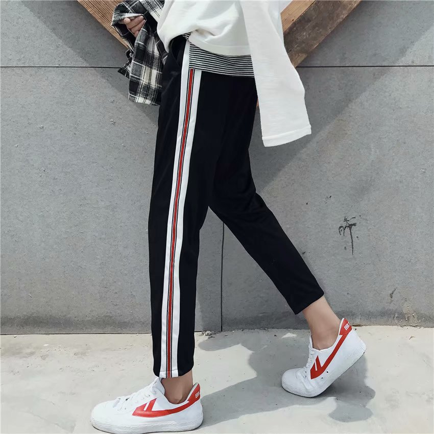 INS Super Fire Loose-Fit Sports Stripes Capri Pants Ulzzang Straight-Cut Casual Pants BF Harajuku Couples Casual Pants