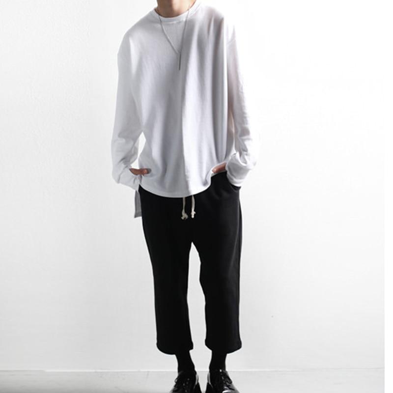 Spring And Autumn Men's Long-sleeved T-shirt Tide Men's Korean Fashion Irregular Loose Round Neck Short Short Back Grow Large Si