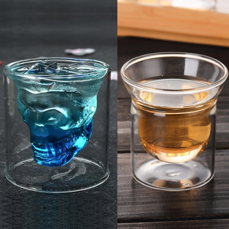 Creative Skull Whisky Glass Double Bottom Glass Cup for Vodka Cheap Wine Glasses Shot Glass Wishkey Glass Tea Glasses as Gift image
