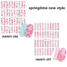2020 Newest HANYI-396-397 Cherry blossoms 3d nail art sticker nail  decal stamping export japan design