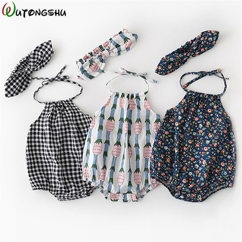 Summer Baby Girl Clothes Vintage Floral Newborn Baby Girl Rompers 0-2Y Backless Cotton Brand One-piece Jumpsuit With Headband