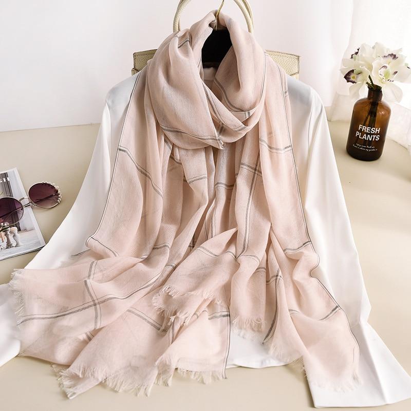 2020 Spring Autumn New Thickening Warm Plaid Women's Scarf Air Conditioning Room Thick Shawl European Fashion Stripe Plaid Scarf