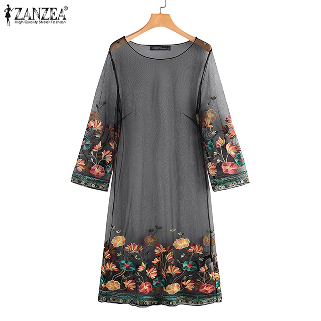 ZANZEA Sexy Mesh Women Mini Dress 2020 Fashion Ladies Embroidery Flowers Short Vestidos Summer Beach Party Outwear Sundress 5XL