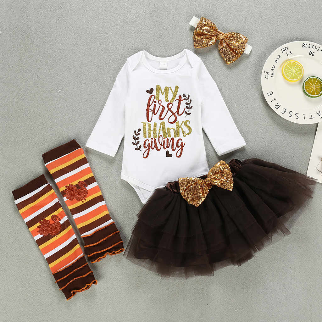 Baby Christmas Clothes Winter Sets Letter Print Romper Tutu Skirt Outfit Thanksgiving New Year Party Toddler Girls Clothes 19oct Clothing Sets Aliexpress