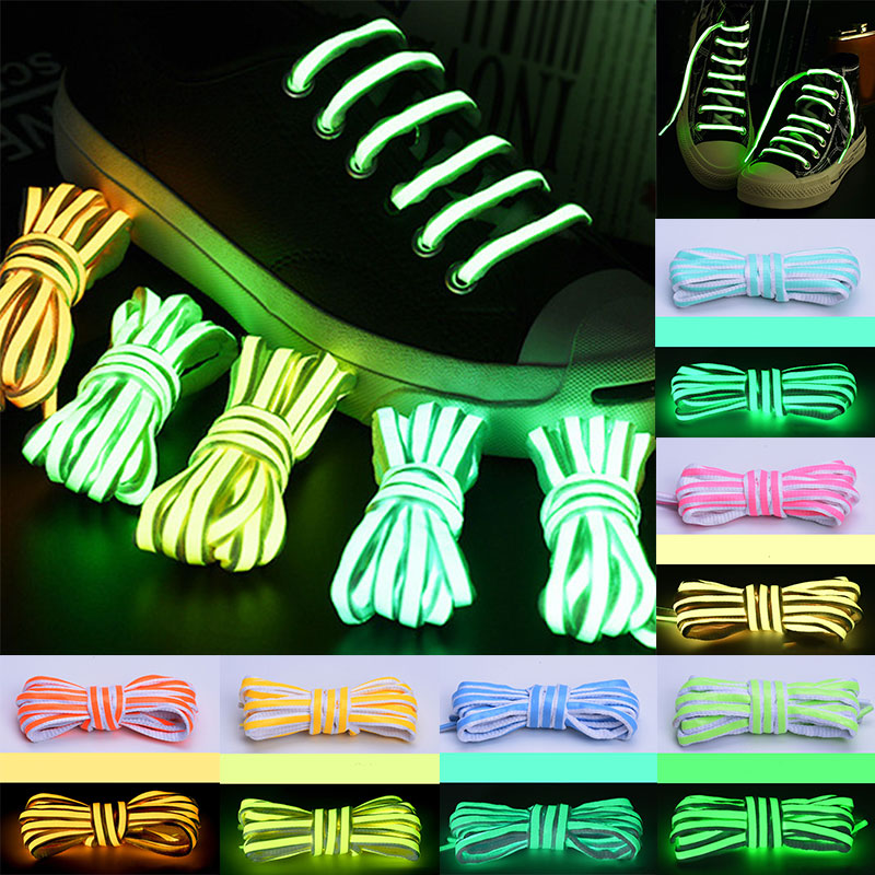 1 Pair 120/140cm Flat Reflective Runner Shoe Laces Safety Luminous Glowing Shoelaces Unisex For Sport Basketball Canvas Shoes