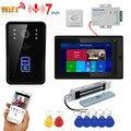 7inch Drahtlose Wifi RFID Video Tür Telefon Türklingel Intercom Entry System mit 280kg 600BL Einsteckschloss Montieren Tür Magnetische schloss