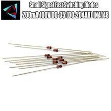 50 pces 1n4148 diodos rápidos de comutação do sinal pequeno axial 200ma 100 v do-35 (DO-204AH) in4148 1n em 4148 50 volts