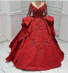 Роскошное арабское муслиновое красное свадебное платье с длинным рукавом, бальное платье с утомленным подолом, милая пуговица на спине, сва...