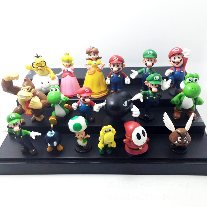 18pcs/lot Super Mario Bros Action Toys Figures Donkey Kong Yoshi Peach Princess Luigi Shy Guy Odyssey Model Cartoon Dolls