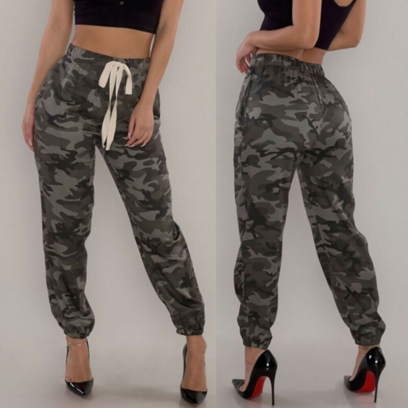 Hirigin Autumn Casual Women Camouflage Joggers Pants Camo Printed High Waist Elastic Waist Sweatpants