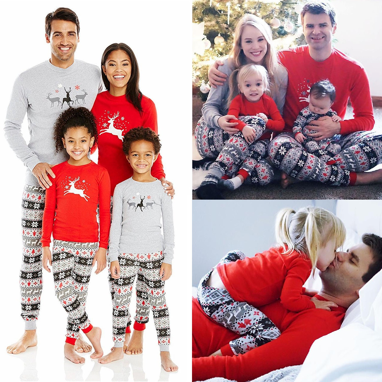 Christmas Matching Sleepwear Family Pajamas Set Father Mother Kid Baby Nightwear Christmas Homewear Pajamas Clothes Outfits Look