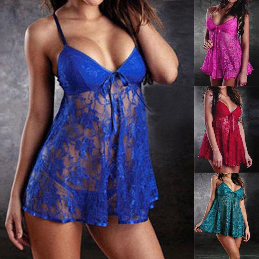 Plus Size Ladies Underwear Lace Sleepwear Lingerie Set Womens Babydoll Dress+G-string