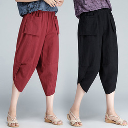 Cotton Linen Capri Pants Women's 2019 New Style Solid Color High-waisted Loose And Plus-sized Flax Harem Pants Baggy Pants
