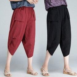 Pantalones Capri de lino de algodón para mujer 2019 nuevo estilo de Color sólido de alta cintura sueltos y de tamaño grande pantalones Harem de lino pantalones holgados