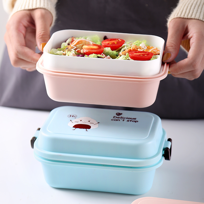 1000 мл прямоугольная коробка для ланча микроволновая печь японский Bento Box детский пищевой контейнер для хранения Портативный школьный пикник с ложкой для обеда