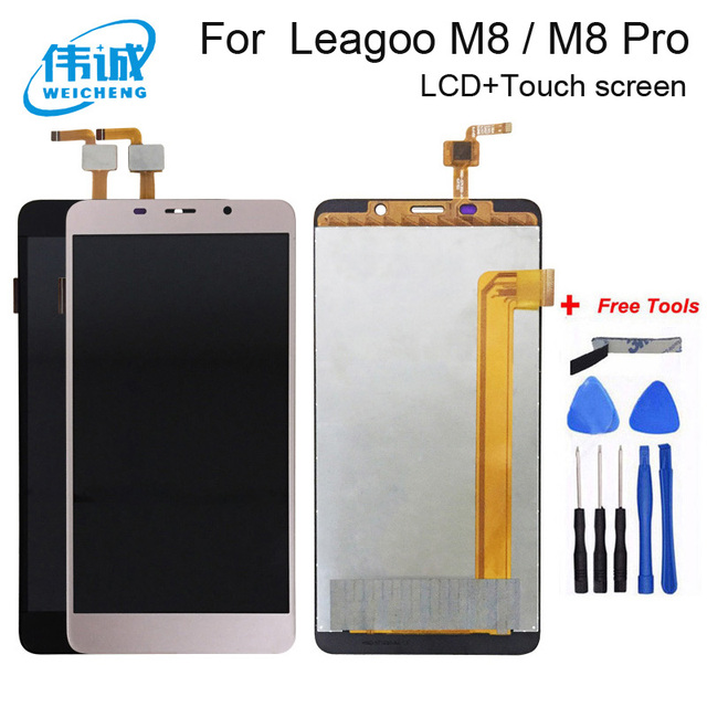 Weicehng para 5.7 polegada leagoo m8 pro display lcd e tela de toque digitador assembléia substituição + ferramentas gratuitas