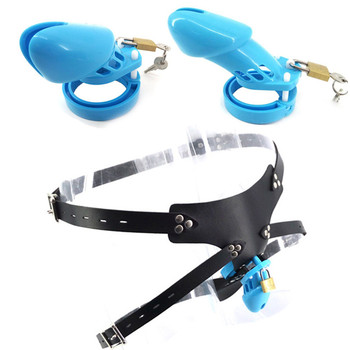 Plastic Male Strap On Chastity Cage Blue CB6000S CB6000 with 5 Base Ring Cock Cage Chastity Devices Sex Toys for Men G7-3-13