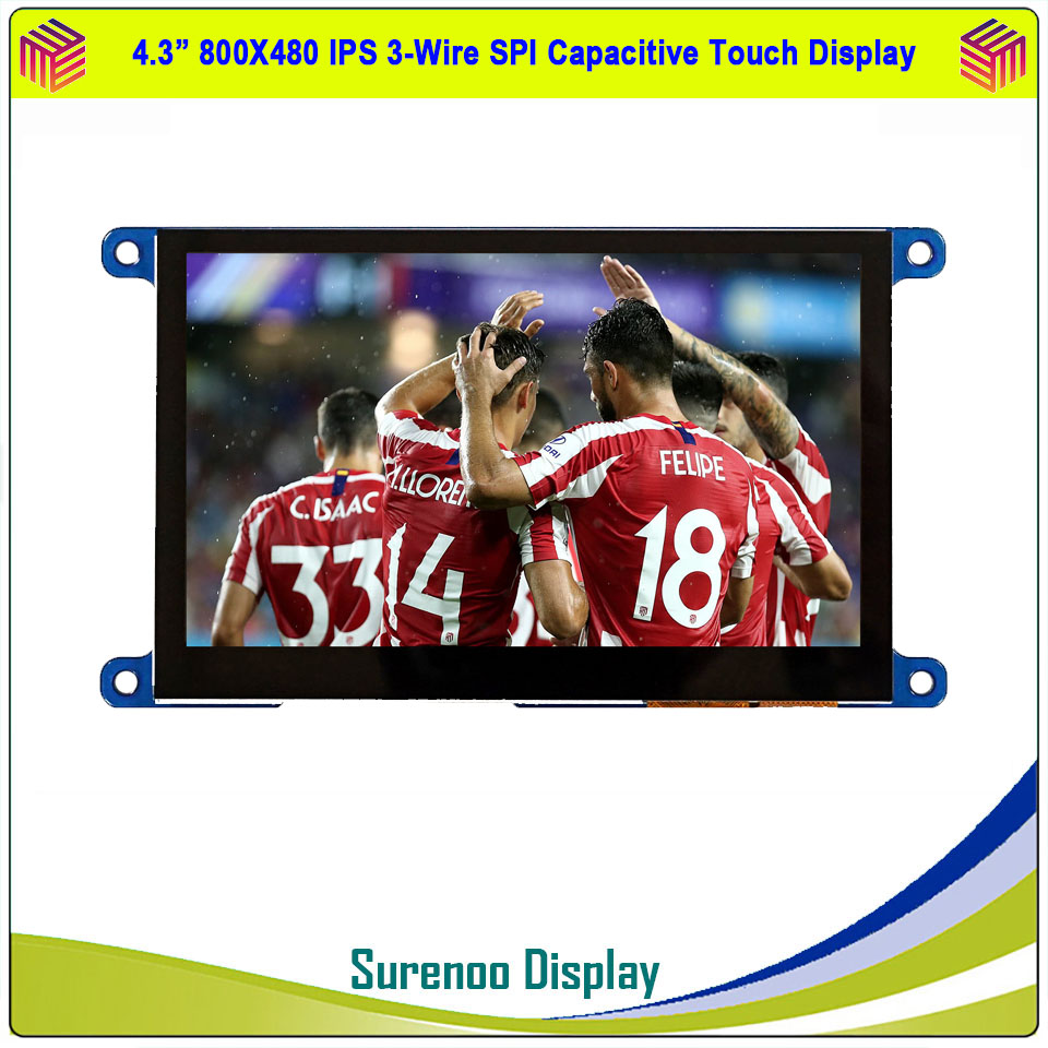4.3 Inch 800*480 IPS 3-Wire Serial SPI TFT LCD Module Display Screen & IIC I2C Capacitive / 4- Wire Resistive Touch Panel image