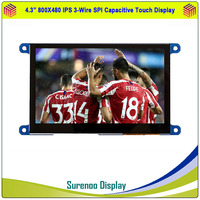4.3 Inch 800*480 IPS 3 Wire Serial SPI TFT LCD Module Display Screen & IIC I2C Capacitive / 4 Wire Resistive Touch Panel