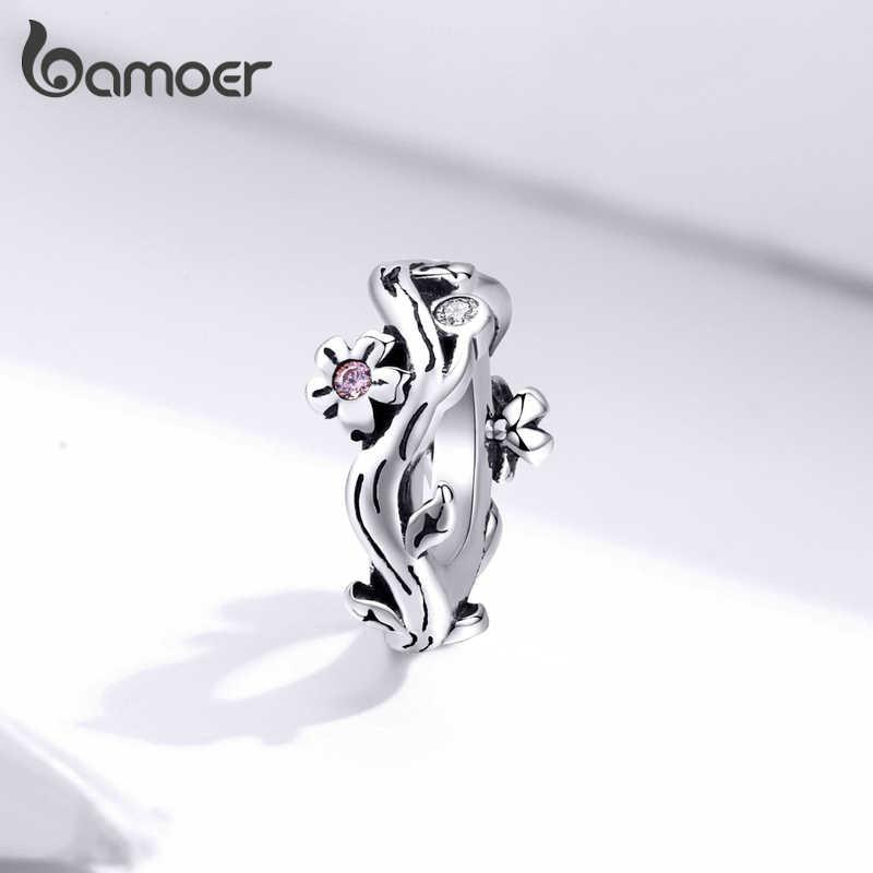Bamoer prata esterlina 925 jóias sakura flor de cerejeira minúsculo charme caber pulseira de cobra original moda jóias fazendo scc1448