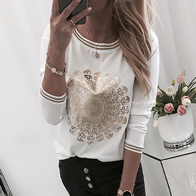 Printed Gold Stamp T-Shirts For Women Casual Long Sleeve Top O-Neck Basic White Shirts Fashion Autumn Spring Tees Tshirts G1120