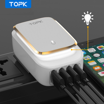 TOPK 4-Port 4.4A(Max) 22W EU USB Charger Adapter LED Lamp Auto-ID Portable Phone Travel Wall Charger for iPhone Samsung