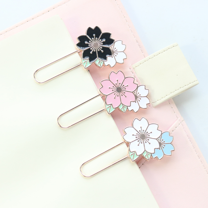 Domikee Cute Creative Metal Flower Office School Decorative Paper Clips Kawaii Student Bookmark For Books Stationery Supplies