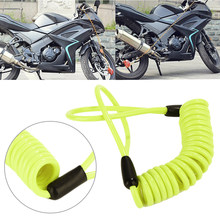 150cm Bike Scooter Motorcycle Motorbike Disc Lock Reminder Coil Cable Bicycle Security Spring Reminder Cable Yellow(China)