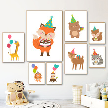 Giraffe Lion Deer Fox Bear Owl Nursery Wall Art Canvas Painting Nordic Posters And Prints Wall Pictures Baby Kids Room Decor цена и фото
