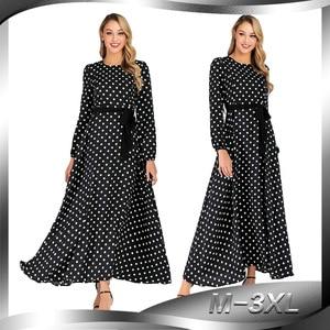 Новинка, платье в мусульманском стиле в горошек с длинными рукавами, приталенное платье и длинное шифоновое платье для женщин