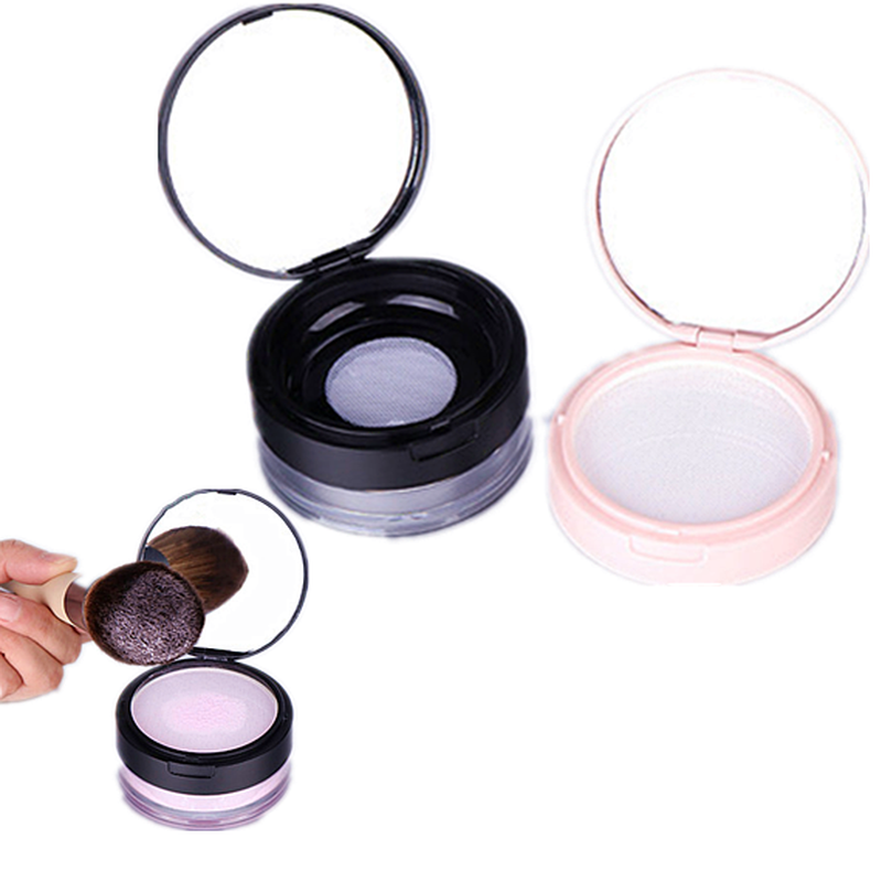 1PC Empty Powder Case Anti Leakage Double Layers Powder Puff Holder Makeup Powder Container With Mirror For Outdoors Home