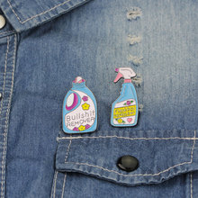 Unique Detergent Spray Laundry Liquid Brooch Pins Button Cartoon Enamel Lapel Pin Badge Jewelry Gift
