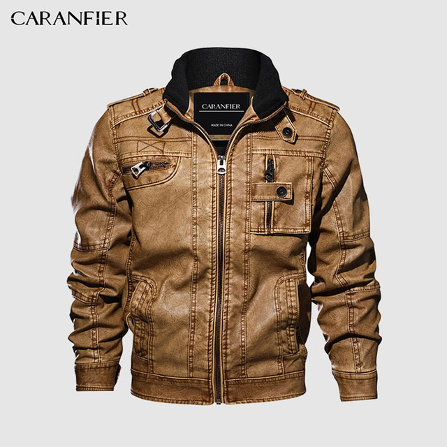 CARANFIER Mens Leather Jackets Stand Collar Zipper  3