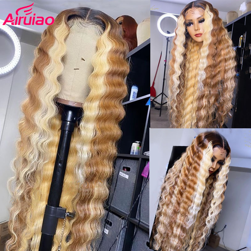 Ombre 613 Blonde Lace Front Wig Pre Plucked Deep Wave Highglight Colored HD Transparent 13x6 Lace Frontal Human Hair Wigs