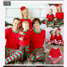 Christmas Family Pajamas Set Striped Clothes Parent-child Suit Home Sleepwear Baby Kid Dad Mom Matching Outfits